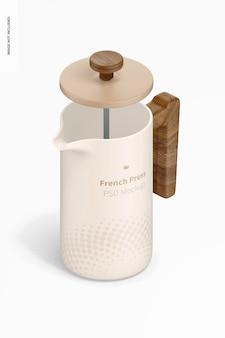 French press mockup di caffettiera, vista isometrica aperta