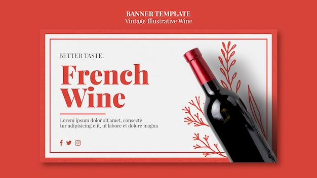 French wine banner template