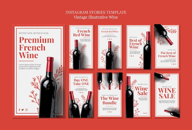 French wine instagram stories template