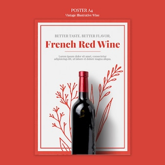 French wine poster template