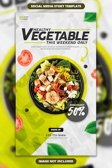Шаблон истории в социальных сетях и instagram для продвижения свежей и здоровой пищи