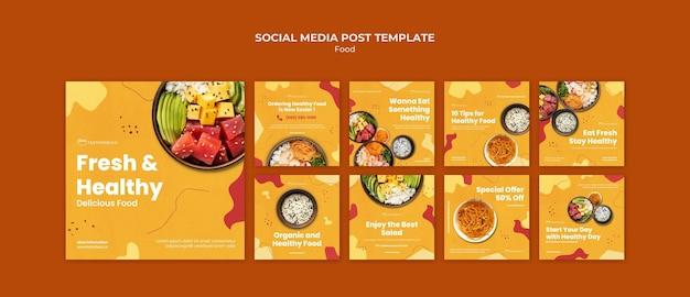 신선하고 건강한 음식 소셜 미디어 포스트