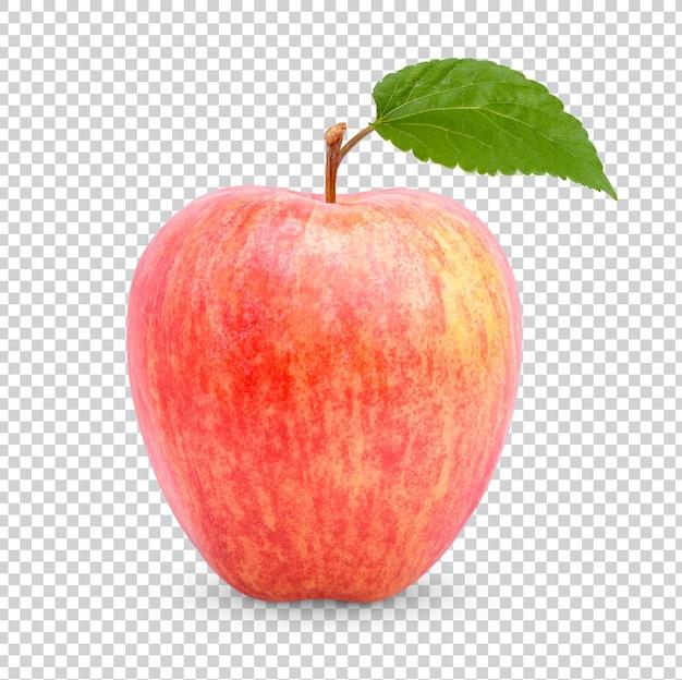 Свежее яблоко с изолированными листьями