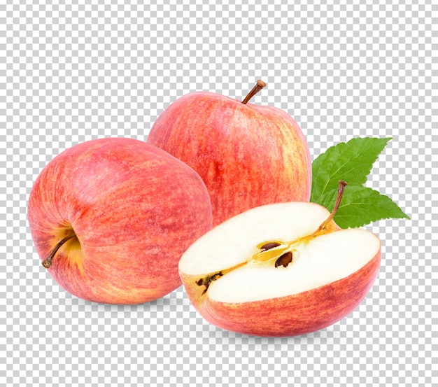 分離された葉と新鮮なリンゴ