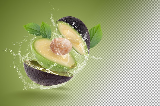 Fresh avocado isolated on a green background
