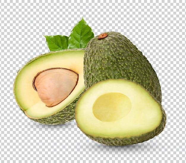 Свежий авокадо с изолированными листьями premium psd