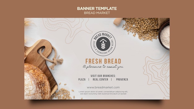Fresh bread market banner template