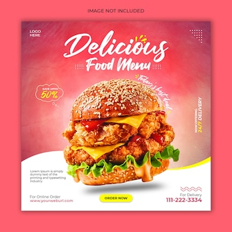 Fresh burger social media post advertising banner template