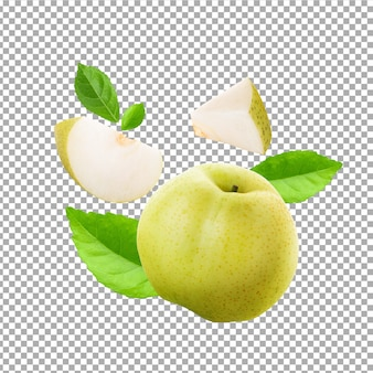 Fresh chinese pear and sliced isolated