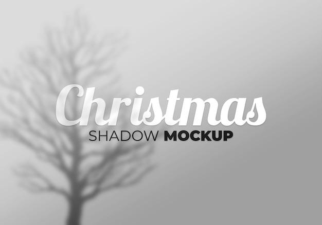 Fresh christmas shadow mockup with tree