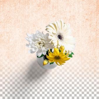 Fresh flowers on white vase isolated