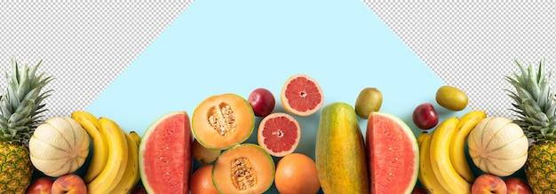 파란색 배경에서 신선한 과일 모형, 위쪽 보기