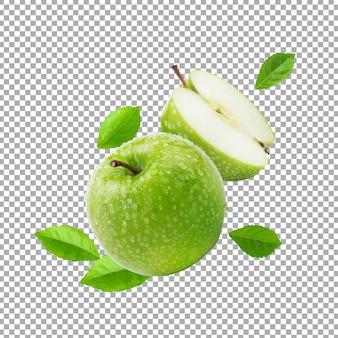 Свежее зеленое яблоко и листья