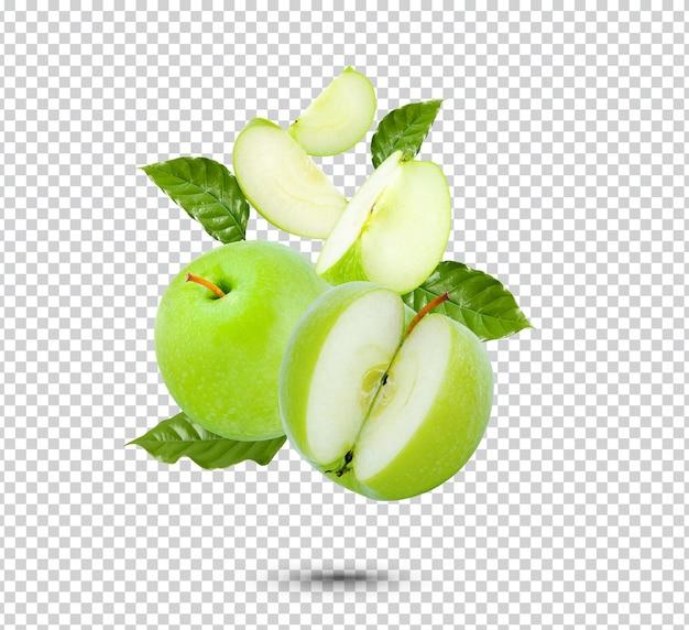 고립 된 신선한 녹색 사과