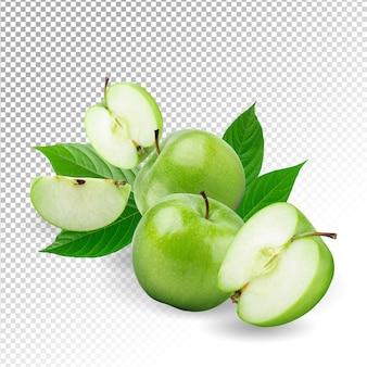 Изолированные свежие зеленые яблоки