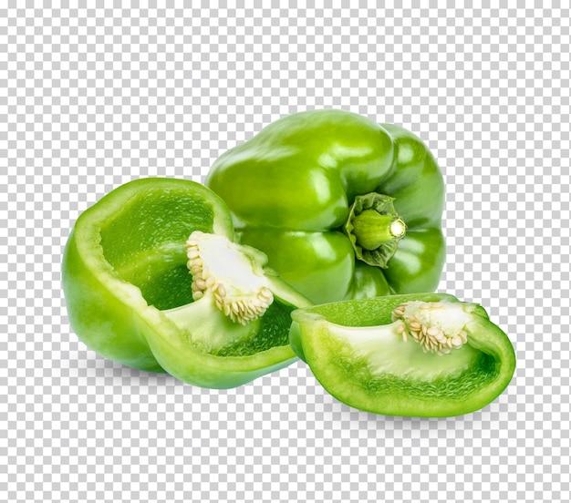 Fresh green sweet pepper isolated premium psd