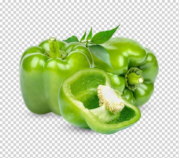 葉が分離された新鮮な緑のピーマンプレミアムpsd