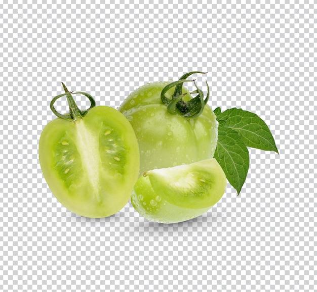 Свежие зеленые помидоры с листьями