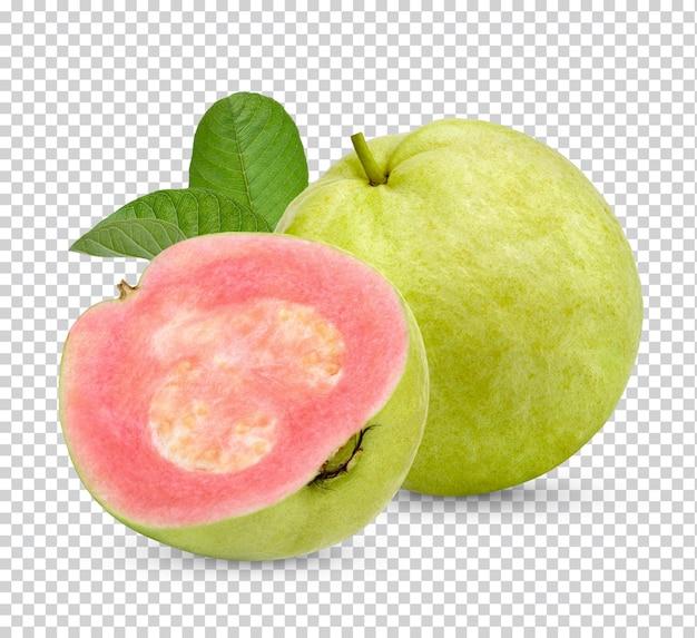 Свежие фрукты гуавы с изолированными листьями premium psd