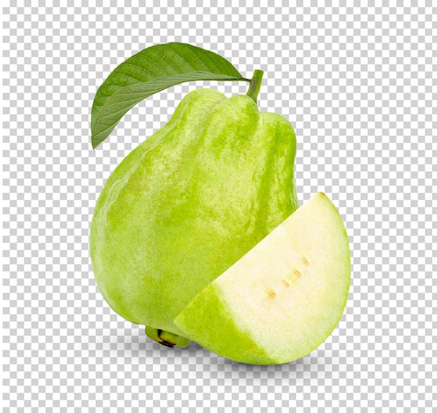 Fresh guava fruit with leaves isolated