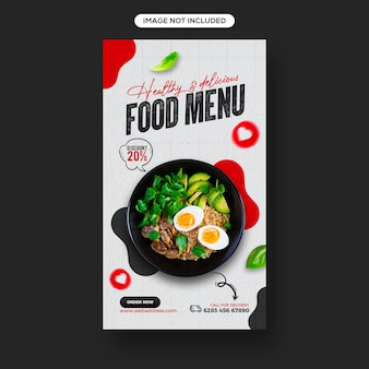 Fresh and healthy food promotion social media and instagram story banner template design