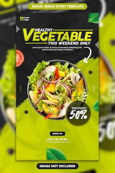 Fresh and healthy food promotion social media and instagram story template