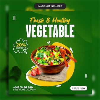Fresh and healthy food vegetable social media post template