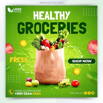 Fresh healthy groceries social media post banner template