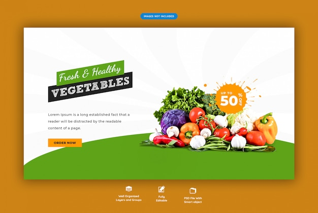 Fresh and healthy grocery sale web banner