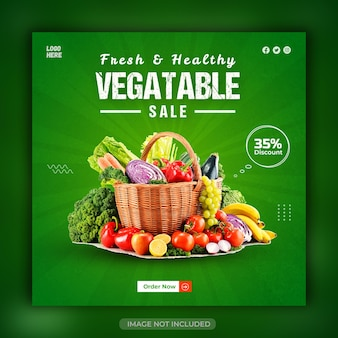 Fresh and healthy grocery vegetable social media banner or instagram stories template