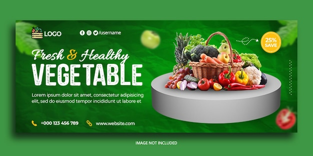 신선한 건강 야채 facebook 표지 웹 배너 템플릿