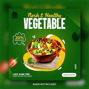 Fresh and healthy vegetable food social media promotion and instagram banner post design template