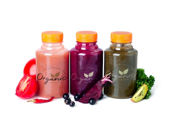 Fresh juice with vegetables and fruits.