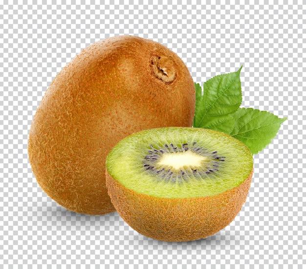 Fresh kiwi fruit with leaves isolated