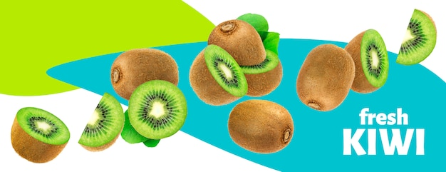Fresh kiwi fruits with leaves isolated