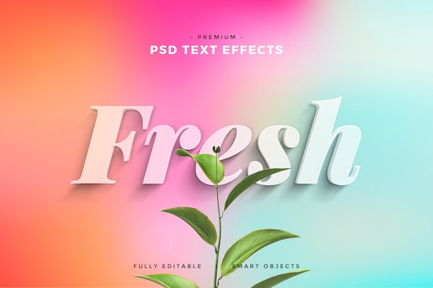 Fresh leaves text effect mockup