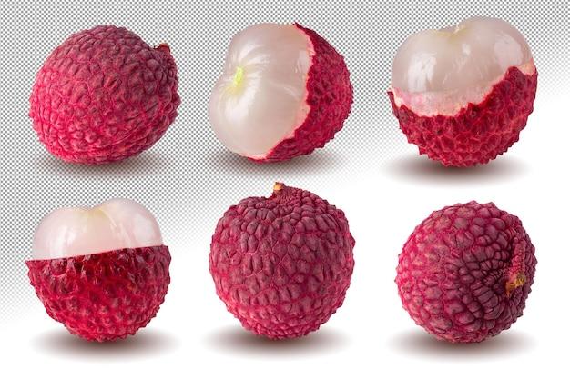 アルファの背景の上に分離された新鮮なライチまたはライチの果実