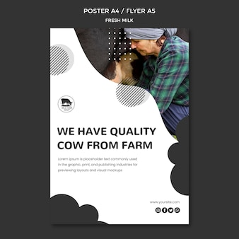 Fresh milk flyer template