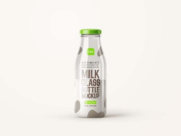 Fresh milk glass bottle mockup