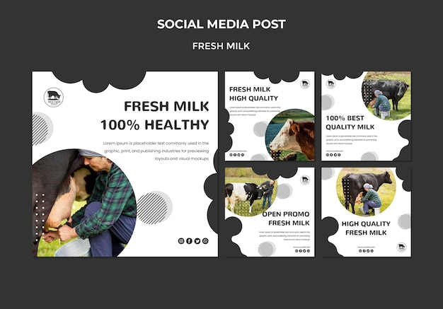 Fresh milk social media posts