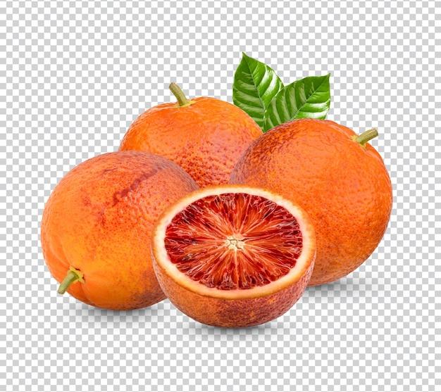 Свежая апельсиновая кровь с изолированными листьями premium psd Premium Psd