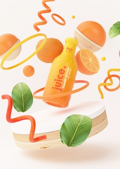 Fresh orange juice mockup with abstract objects