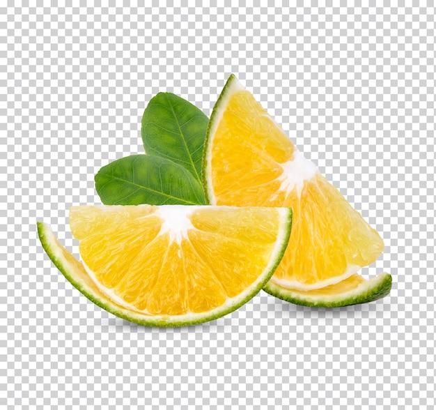 葉が分離された新鮮なオレンジプレミアムpsd