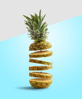 Свежий ананас нарезать ломтиками летающий