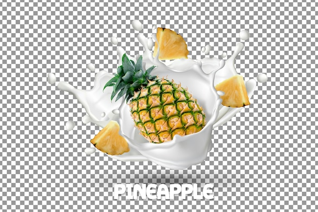 Fresh pineapple with milk yogurt splash