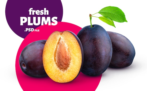 Fresh plums fruits banner