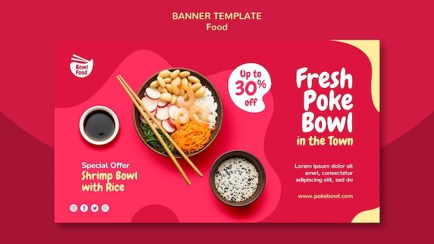 Fresh poke bowl banner template