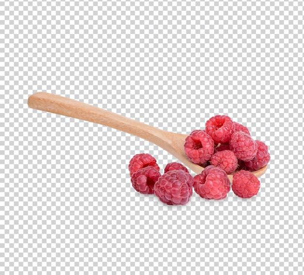 Свежая малина и малина в ложке изолированно premium psd