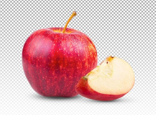 分離された新鮮な赤いリンゴ