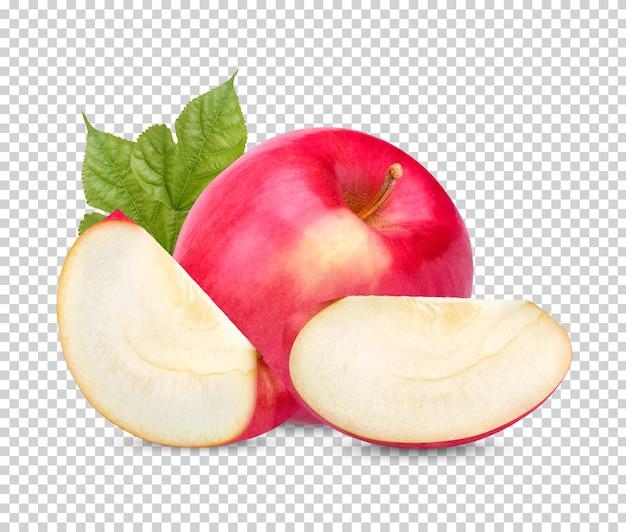 Свежее красное яблоко с изолированными листьями premium psd